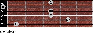 C#13b5/F for guitar on frets 1, 4, 3, 3, 0, 3