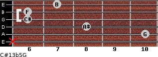 C#13b5/G for guitar on frets x, 10, 8, 6, 6, 7
