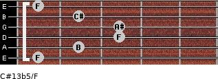 C#13b5/F for guitar on frets 1, 2, 3, 3, 2, 1