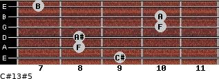 C#13#5 for guitar on frets 9, 8, 8, 10, 10, 7