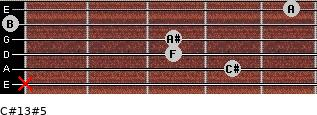 C#13#5 for guitar on frets x, 4, 3, 3, 0, 5