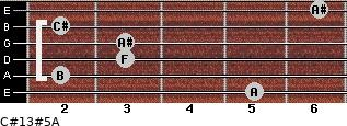 C#13#5/A for guitar on frets 5, 2, 3, 3, 2, 6