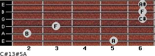 C#13#5/A for guitar on frets 5, 2, 3, 6, 6, 6
