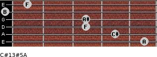 C#13#5/A for guitar on frets 5, 4, 3, 3, 0, 1