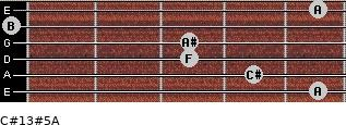 C#13#5/A for guitar on frets 5, 4, 3, 3, 0, 5