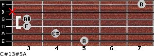 C#13#5/A for guitar on frets 5, 4, 3, 3, x, 7