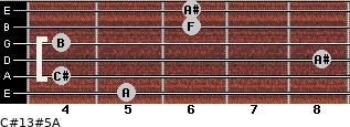 C#13#5/A for guitar on frets 5, 4, 8, 4, 6, 6