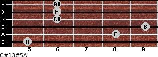 C#13#5/A for guitar on frets 5, 8, 9, 6, 6, 6