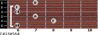 C#13#5/A# for guitar on frets 6, 8, 7, 6, 6, 7