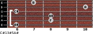 C#13#5/A# for guitar on frets 6, 8, 8, 6, 10, 7