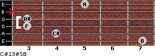 C#13#5/B for guitar on frets 7, 4, 3, 3, x, 5