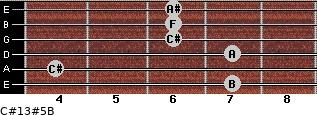 C#13#5/B for guitar on frets 7, 4, 7, 6, 6, 6