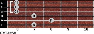 C#13#5/B for guitar on frets 7, 8, 7, 6, 6, 6