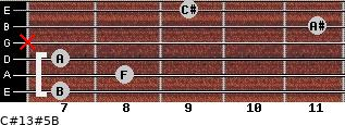 C#13#5/B for guitar on frets 7, 8, 7, x, 11, 9