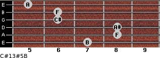 C#13#5/B for guitar on frets 7, 8, 8, 6, 6, 5