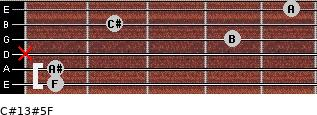 C#13#5/F for guitar on frets 1, 1, x, 4, 2, 5