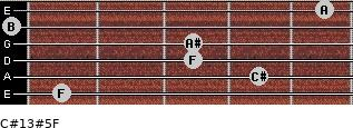 C#13#5/F for guitar on frets 1, 4, 3, 3, 0, 5