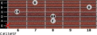 C#13#5/F for guitar on frets x, 8, 8, 6, 10, 7