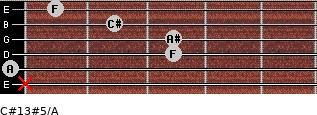 C#13#5/A for guitar on frets x, 0, 3, 3, 2, 1