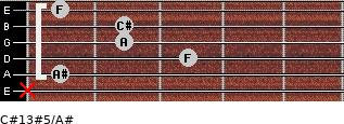 C#13#5/A# for guitar on frets x, 1, 3, 2, 2, 1