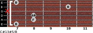 C#13#5/B for guitar on frets 7, 8, 8, x, 10, 7