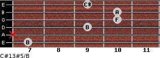 C#13#5/B for guitar on frets 7, x, 9, 10, 10, 9