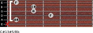 C#13#5/Bb for guitar on frets x, 1, 3, 2, 2, 1
