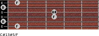 C#13#5/F for guitar on frets 1, 0, 3, 3, 0, 1