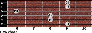 C#6 for guitar on frets 9, 8, 8, 6, 9, 9