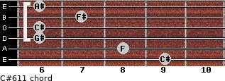 C#6/11 for guitar on frets 9, 8, 6, 6, 7, 6