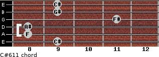 C#6/11 for guitar on frets 9, 8, 8, 11, 9, 9