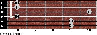 C#6/11 for guitar on frets 9, 9, 6, 10, 6, 6