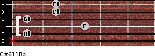 C#6/11/Bb for guitar on frets x, 1, 3, 1, 2, 2