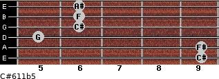C#6/11b5 for guitar on frets 9, 9, 5, 6, 6, 6