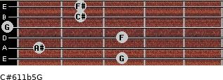 C#6/11b5/G for guitar on frets 3, 1, 3, 0, 2, 2