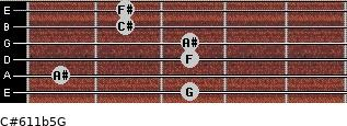 C#6/11b5/G for guitar on frets 3, 1, 3, 3, 2, 2
