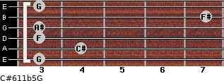 C#6/11b5/G for guitar on frets 3, 4, 3, 3, 7, 3