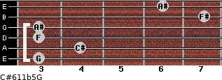 C#6/11b5/G for guitar on frets 3, 4, 3, 3, 7, 6