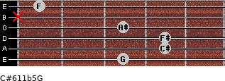 C#6/11b5/G for guitar on frets 3, 4, 4, 3, x, 1