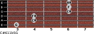 C#6/11b5/G for guitar on frets 3, 4, 4, 6, 6, 6