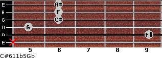 C#6/11b5/Gb for guitar on frets x, 9, 5, 6, 6, 6
