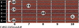 C#6/11b5sus/A# for guitar on frets 6, 10, 8, 6, 7, 6