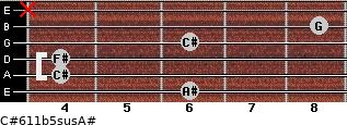 C#6/11b5sus/A# for guitar on frets 6, 4, 4, 6, 8, x
