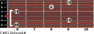 C#6/11b5sus/A# for guitar on frets 6, 9, x, 6, 8, 9
