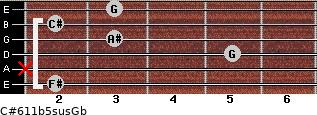 C#6/11b5sus/Gb for guitar on frets 2, x, 5, 3, 2, 3