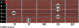 C#6/11sus for guitar on frets 9, 11, 8, 11, 11, x