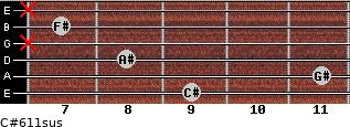 C#6/11sus for guitar on frets 9, 11, 8, x, 7, x