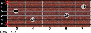 C#6/11sus for guitar on frets x, 4, 6, 3, 7, x
