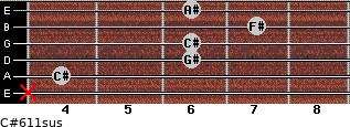 C#6/11sus for guitar on frets x, 4, 6, 6, 7, 6