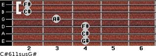 C#6/11sus/G# for guitar on frets 4, 4, 4, 3, 2, 2